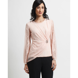 Via Veneto Gold Collection - Blusa Drappeggiata Georgette e Pizzo con Spilla Gi