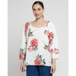 James Lakeland - Blusa in Lino Stampa Fiori Rossi