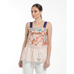 - Twin Set Top in Seta Stampa Fiori