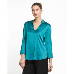 The Jetsetters - Blusa Satin con Colletto e Scollo a V