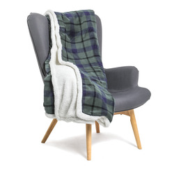 Plaid Caldo Inverno Double Face Stampa Agnello Verde