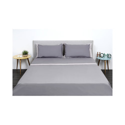 Linea Luxury Completo Letto Percalle Bordi Raso Matrimoniale sabbia