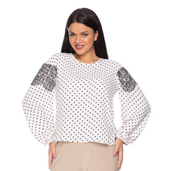The Jetsetters-Blusa in Georgette con Pois e Pizzo