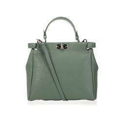 Smart & Chic Accessori - Borsa A Mano In Pelle Con Chiusura Metallizzata